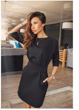 2017 women fall fashion casual mini dress broadcloth solid color short sleeve o-neck women dress two side pocket black dressAs