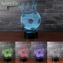3D Crown Football LED Lava Lamp Night Light Luminaria Novelty Touch Table lamp 7 Colors Changing Desk USB LED Kid Gift Toy(China)