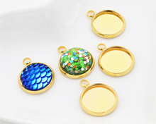 20pcs 12mm Inner Size Gold Plated Brass Material Simple Style Cabochon Base Cameo Setting Charms Pendant Tray (A2-44)