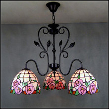 Tiffany  European style  garden pendant light iron stained glass pink rose 3 heads Rose Garden Restaurant  dining room lamp