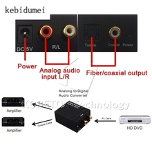kebidumei Digital Audio Optical Analog to Digital Converter Toslink SPDIF Coax to Analog L/R RCA Audio Converter Adapter 3.5