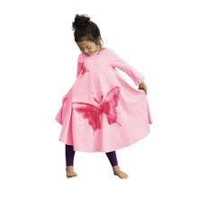 Factory Price!!! Girls Casual Dresses Long Sleeve Butterfly Printed Dress Loose Kids Vestidos Clothes