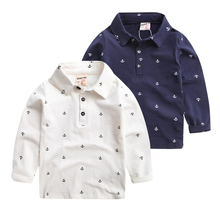 2-7 Age Toddler Boys Cotton T Shirt Long-sleeve Turn Down Collar Causal T-shirt Anchors Print Cotton T Shirt For Boy Baby Top