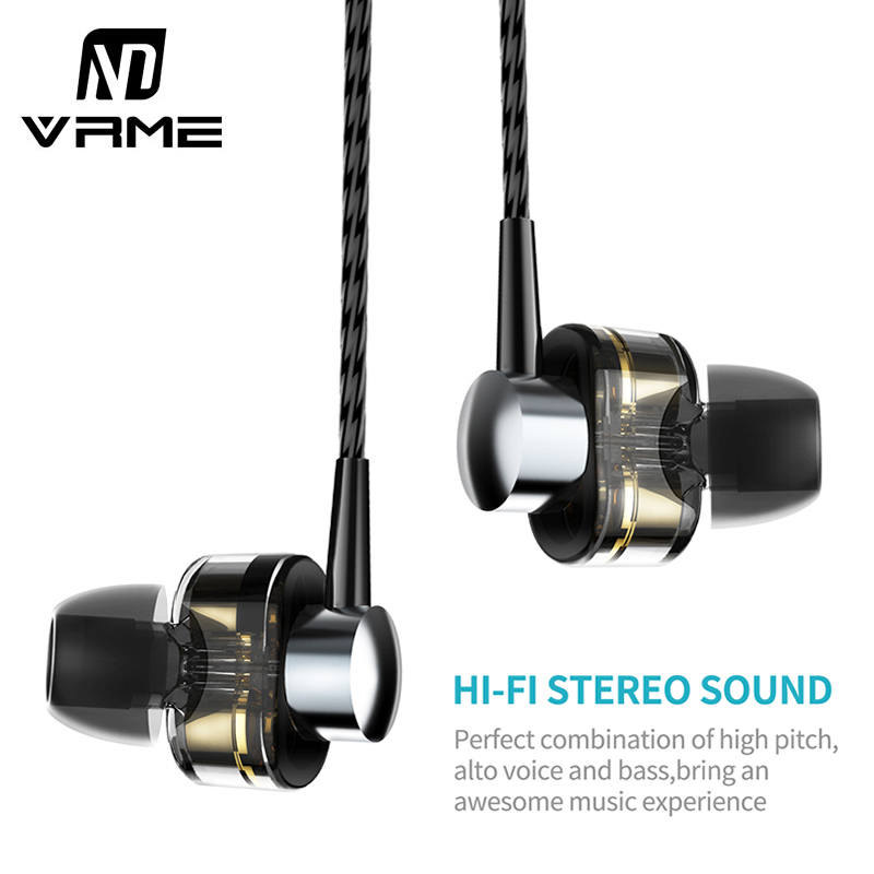 Vrme Newest Hifi Headphone Wired-control Sport Musci Headset Double Dynamic Super Bass Earphone for iPhone 8 6 6s Samsung Xiaomi<br>