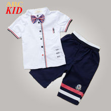 Trendy Boys Clothes Bow Tie Blouse + Shorts Costume For Kids Clothing Set Children's Sports Suit Uniforms England Style KD335