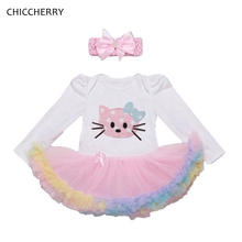 Hello Kitty Baby Girl Clothes Elegant Toddler Lace Rompers Newborn Tutu Set Birthday Dress & Headband Robe De Bebe Kids Clothes