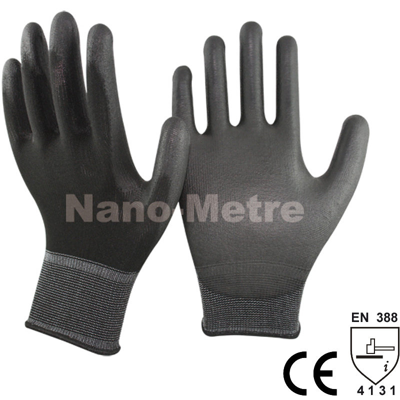 NMSAFETY 13 Gauge Knitted Black Polyester/Nylon Sa...