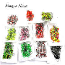 Free Shipping 50Pcs/lot Winter Ice Fishing Lure Mini Metal Lead Head Hook Bait Jigging Lure Hooks High Quality For FishingTackle(China)