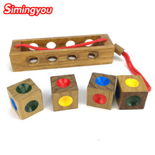 Simingyou Wooden Montessori Toys Kong Ming On Color Chess  3D Wooden  Wooden Cube Educational Toy ZB02 Drop Shopping