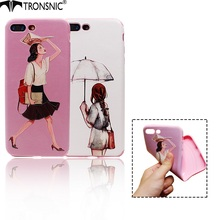 Tronsnic Fashion Summer Raining Day Phone Case Umbrella Office Lady 3D Relief Silk Print Soft Cover for iPhone 6s 6splus 7 7plus