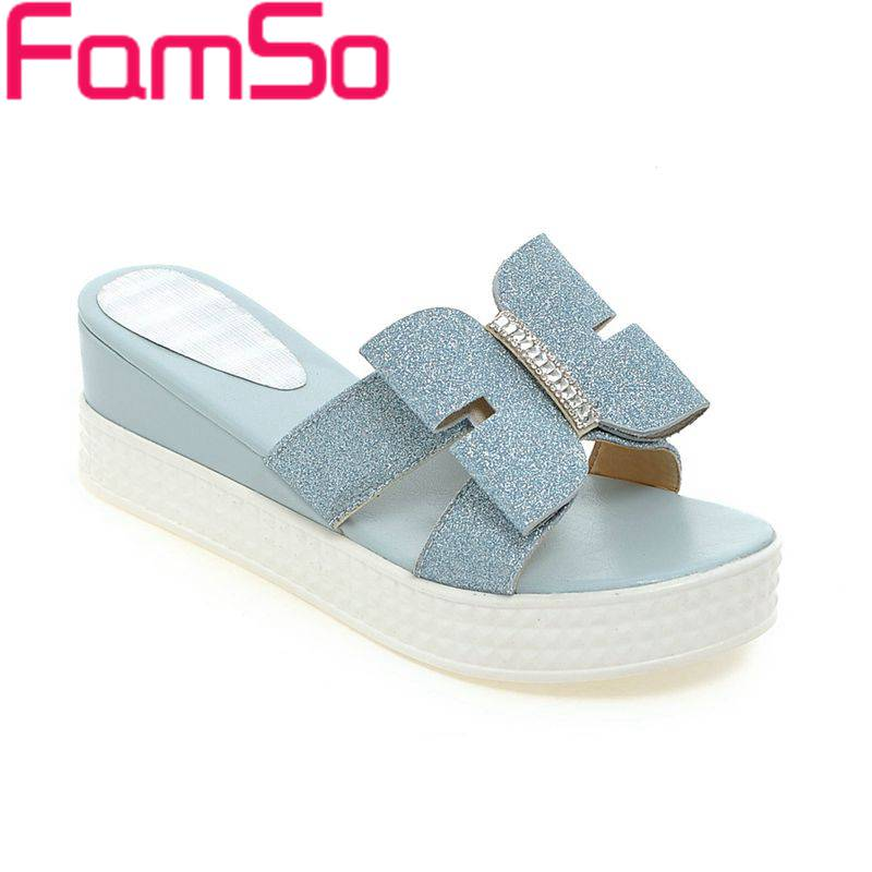 Free shipping 2017 New Fashion Women Sandals Peep toe Wedges Pumps Shoes Blue White Home Slides Summer Ladies High Heels PS2037<br><br>Aliexpress