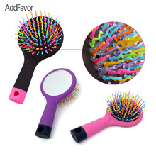 Addfavor Styling Tools Rainbow Brushes Anti-static Massage Balloon Brush with Mirror Hair Brushes Tools Beauty Styling Comb(China)