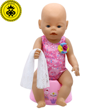 LIN KUN Baby Born Doll Clothes Cute Red Swimsuit Bikini + Scarf Suit Fit 43cm Zapf Baby Born 16-18 inch Doll Accessories  T7