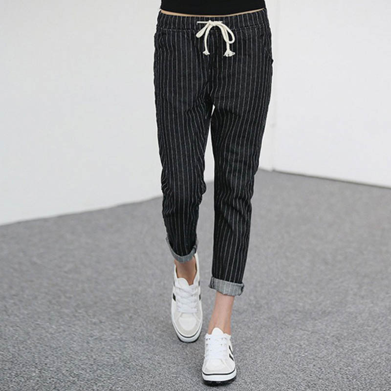 2017 New Style Womens Striped Jeans Casual Elastic Waist Slim Denim Pencil Pants Plus Size 5XL Black WM11Одежда и ак�е��уары<br><br><br>Aliexpress