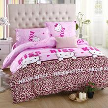 Home textiles bedclothes,Child Cartoon pattern,Hello kitty bedding sets include duvet cover bed sheet pillowcase,couette de lit(China)
