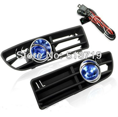 Free shipping Fit For VW JETTA BORA MK4 99-04, FRONT FOG LIGHTS LAMP+BUMPER CHROME RING GRILLE COMBO<br>