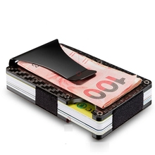 New Carbon Fiber Mini Money Clip Credit Card ID Holder With RFID Anti-chief Card Wallet Porte Carter Metal Rifd Wallet