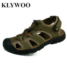 Plus Size 38-47 New Men Sandals Genuine Leather Summer Breathable Shoes Men Slippers Outdoor Walking Casual Beach Sandal Shoes(China)