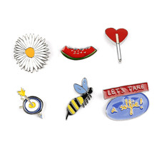 2017 Free Shipping Fashion New Woman Jewelry Bee Watermelon Sunflower Lady Chrysanthemum Drop Oil Needle pins brooch badge sets