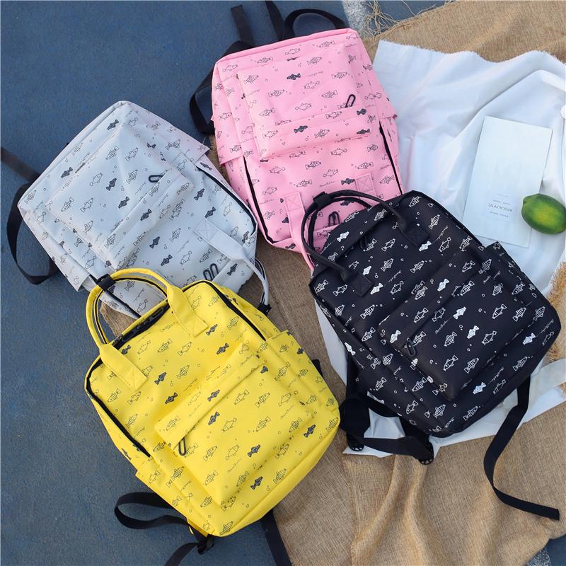 Menghuo Fish Printing Women School Bag Backpack for Teenage Girls Backpacks Female Canvas Children Schoolbag Women Bag s (22)