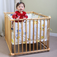 Exports To Europe, Multi-functional Solid Wood Crib, Safe Fencing, Wheels, Chassis, Height, Textiles(China)
