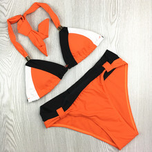 2017 Patchwork Tie Back Women Orange Bikini Waisted Fringe Girls sexy Tankini Best Quality Elastic Durable Swimwear Swimsuit
