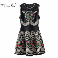 Truevoker Europe Designer Dress Ladies' High Quality Sleeveless Vintage Butterfly Embroidery Tank Dress(China)