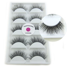 5 Pairs/lot handmade across thin eyelash 3D Mink lash strip lashes thick fake faux eyelashes Makeup A12 maquiagem(China)