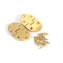 "2pcs/set Good Quality Brass Tray Hinge Round Edge 2-1/2""x1-1/2"" With Screws Folding Flap for Furniture"