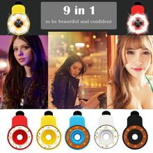 9 in1 Clip-on Phone Selfie Speedlite 8 LED Flash Light Lamp Wide Angle Fish Eyes Lens Fill Lights 5 Colors Optional