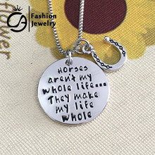 Horses aren't my whole life ...They make my life whole Horseshoe Horse lover Pendant Necklace Gift  #LN1119
