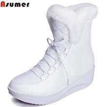 Asumer Hot Sale Shoes Women Boots Solid Slip-On Soft Cute Women Snow Boots Round Toe Flat with Winter Fur Ankle Boots(China)