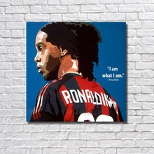 Handpainted Home Decor Pictures Ronaldinho Football Star Oil Painting Wall Decor Modern Abstract Handmade Canvas Painting Art(China)