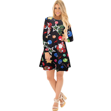 YJSFG HOUSE Women Casual Long Sleeve Christmas Day Evening Party Dresses Fashion Floral Printed Mini Dress Vintage Ladies Dress(China)