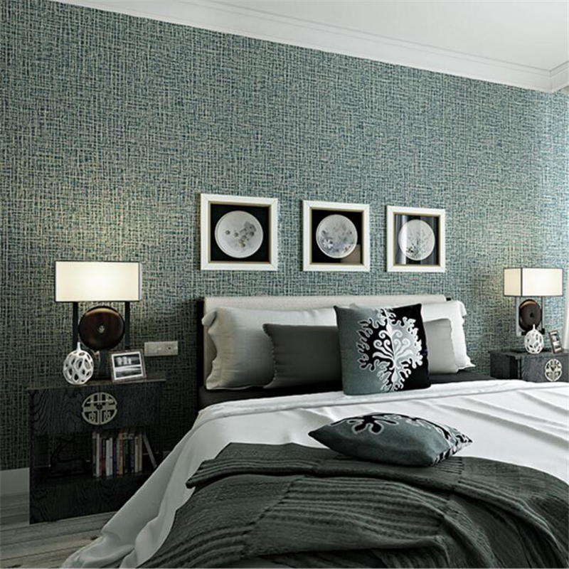 beibehang wallpaper modern linen texture wall paper 3D bedroom pure plain living room full of papel de parede <br>