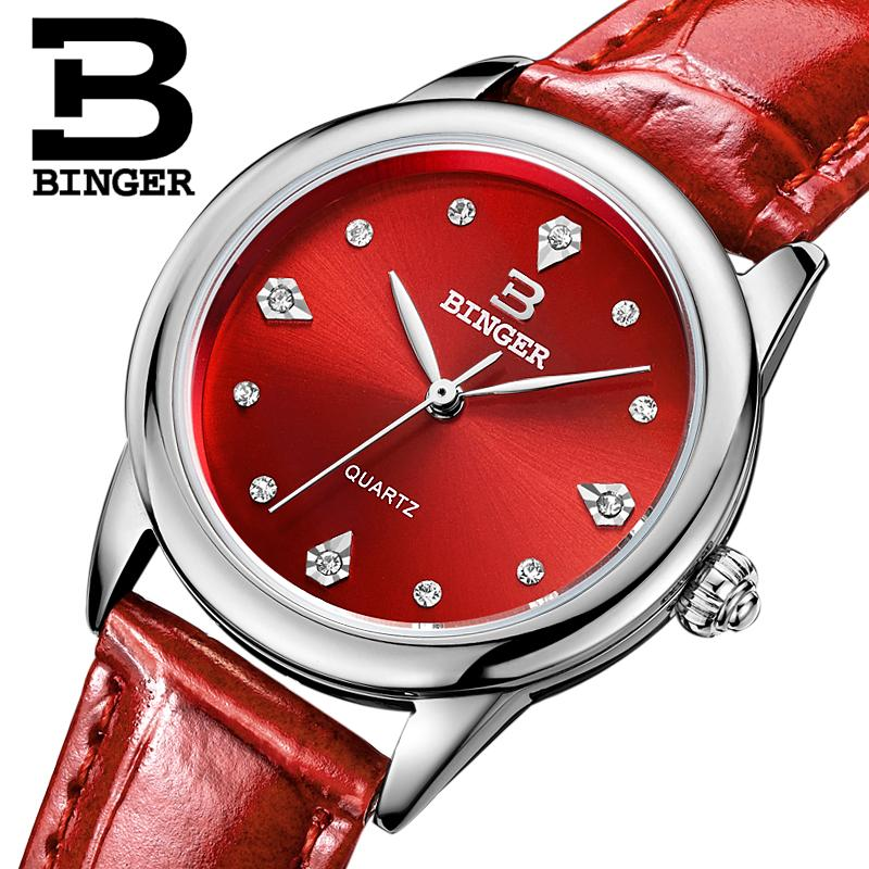 Switzerland Binger Womens watches luxury quartz waterproof clock 4 color available genuine leather strap Wristwatches BG9006-3<br>