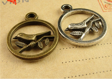 20MM Antique Bronze Retro bird charms mobile phone accessories jewelry pendant South Korea, brass tibetan silver magpie pendants(China)