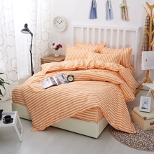 4pcs Bedding Set Nordic Orange Striped Comfortable Polyester Bed Sets King Queen Size Bedsheet Bedspread Duvet Cover Pillowcase(China)