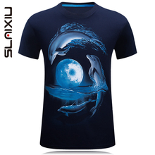 Fashion Summer Cotton Men T-shirt Short Sleeves Adult Clothing Dolphin O neck 3D T Shirt Boys Tops Casual Men's Tees Navy