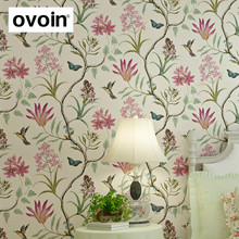 Popular wallpaper floral buy cheap wallpaper floral lots from china american style bedroom wall covering modern vintage pink floral wallpaper blue tropical butterfly birds flower wall mightylinksfo
