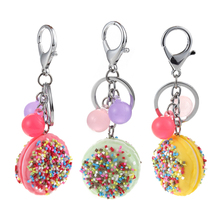 2017 New Arrival Resin keychain Donuts key Chain Three Color Available key Ring Gift For Children Ghost Emoji Pendant Bag Charm