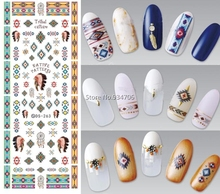 NEW DIY Fashion Water Transfer Nails Art Sticker Indian Style Vintage Sexy Nail Wraps Sticker Watermark Fingernails Decals