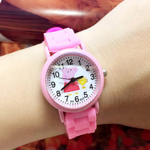 Wholesale 50PCS/LOT Jelly Band Small Pig Children Quartz Wristwatches For Girls With Colorful Silicone Strap Kids Watches New(China)