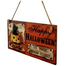 """Happy HALLOWEEN THE MAGIC BROOM CLOSET"" Wooden Hanging Board Rectangle Hanging Wall Sign Decoration for Halloween Party(China)"