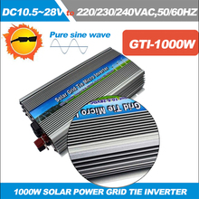 1000W Grid Tie Inverter for 18V Solar Panel, MPPT function, DC 10.5~28V to AC 220/110V Pure Sine wave Micro On Grid Tie Inverter(China)