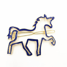 Timlee H003 Free shipping Unicorn Horse Hair Clip Barrettes Girls Lovely Hair Accessary Gift