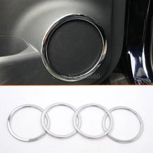 For Nissan Qashqai 2014 2015 2016 abs Chrome Interior Car Door sound Speaker Audio Ring Cover Trim decoration 4pcs