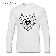 Custom Made Men XXL T-shirts Spider Web Heart Man Full Cotton O Neck Tshirts Long Sleeve Top Tees Freestyle XS-XXL Hot Sale(China)
