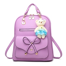 2018 Women Backpack New Spring And Summer Students Backpack Girls Korean Style Backpacks With Bear High Quality purple(China)