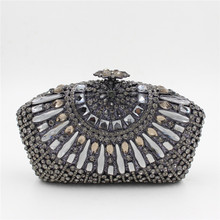 2017 New Designer Evening Bag Crystal Women Clutches Purse Wedding Bride Bag Indian Evening Handbag Party Clutches(China)